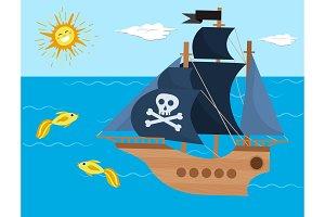 Pirate ship vector kids cartoon