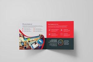 Red Square Bi-Fold Brochure