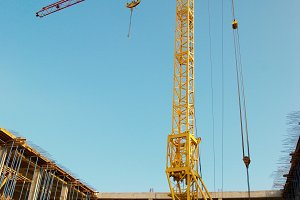 Building crane and construction.