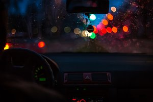 Bokeh lights from traffic on wet day