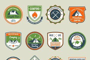Mountain adventure emblems set