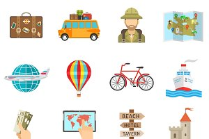 Travel icons flat set