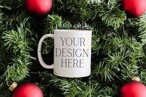 11 oz Ornaments Christmas Mug Mockup