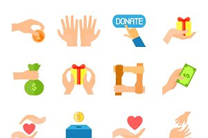 Charity and assistance color icons