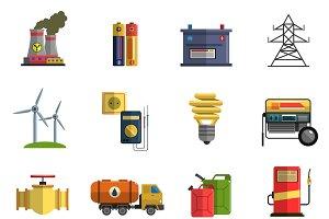 Energy flat icons set