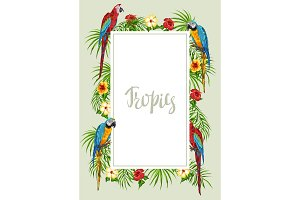 Tropical frame with parrots.