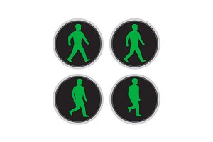 Traffic Light Man Walk Cycle Sequenc