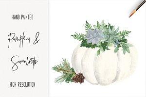White Pumpkin Succulent Watercolor