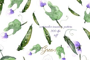 watercolor print greenpea