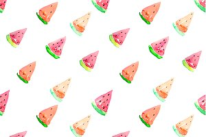 Seamless Watermelon Vector Pattern