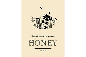 Vintage honey card with bees and