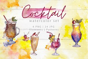 Beverages collection PNG watercolor