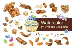 Watercolor confections and nuts