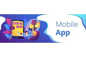 Mobile app development header or