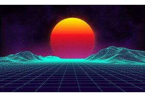 Retro background futuristic
