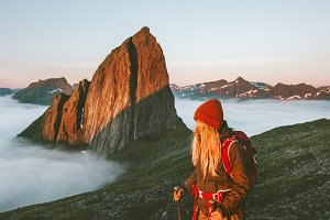 Woman traveler hiking outdoor