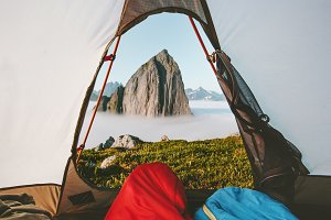 Camping tent mountain morning view