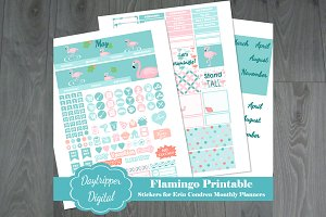 Flamingo Monthly Planner Stickers