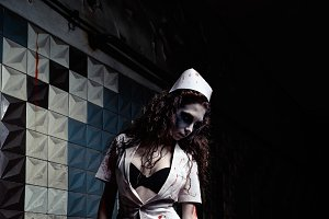 Spooky mad nurse (doctor). Zombie