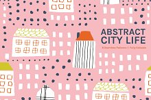 Abstract City Life Seamless Patterns