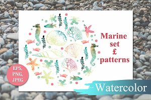 Marine set of elements for design