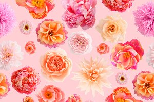 Crepe paper flower seamless pattern