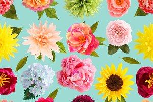 Crepe paper flower seamless pattern
