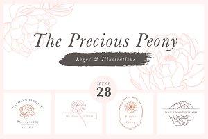 Precious Peony Floral Logo Set