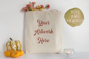 Tote Bag Mockup- Autumn Pumpkins