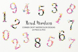 Watercolor Floral Number Clipart