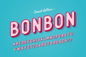 Vector sweet candy font design