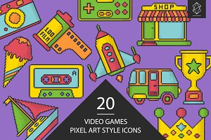 Video games pixel art style icons