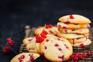 Fresh homemade cookies with red curr