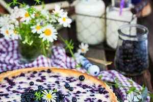 Fresh homemade creamy blueberry tart