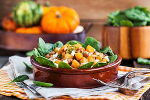 Butternut squash, bacon, spinach and