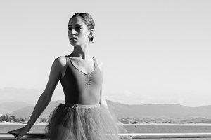 Pretty ballerina outdoors portrait