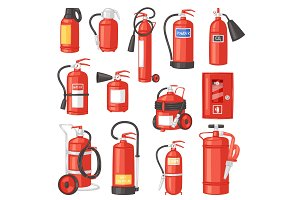 Fire extinguisher vector fire