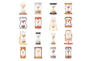 Sandglass vector glass clock with