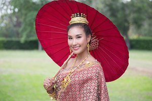 Beautiful Thai woman wearing Thai tr