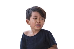 Asian boy is crying on a white backg