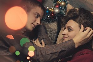 Couple in love celebrating Christmas