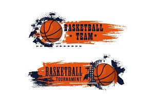 Basketball sport game grunge banner