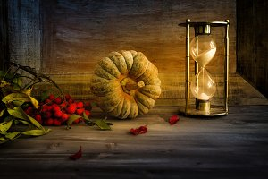 autumn still life with pumpkin