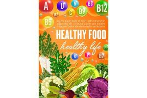 Healthy vegetable food and vitamins