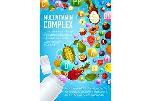 Multivitamin poster, vitamin pill