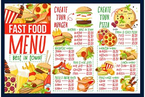 Fast food menu with ingredients
