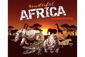 African safari animals and reptile