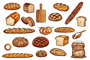 Pastry icons. Bread, baguete, bun