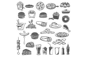 Fast food meal icons with snacks