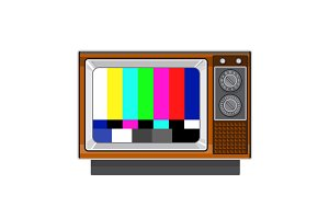 Retro Television Set TV Test Card Si